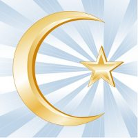 11837262 - islam symbol, golden crescent and star, icons of the islamic faith on a sky blue background with rays.