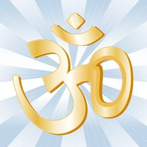 11837267 - hindu symbol, golden aumkar, icon of hindu faith on a sky blue ray background.