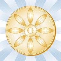 11837268 - buddhism symbol, lotus blossom, wheel of dharma, golden icon of buddhist faith on a sky blue ray background.