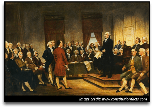 Politics and the United States image of forefathers talking about the Constitution.