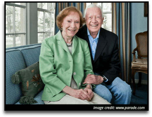Politics and the government. Image of Jimmy and Rosalynn Carter.