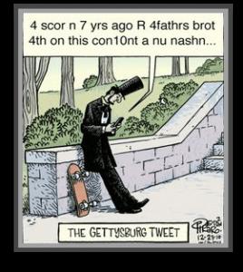 Politics blog humorous cartoon image of President Lincoln tweeting.