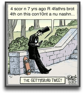 Politics blog humorous cartoon image of President Lincoln tweeting.