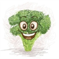 Health and nutrition. Smiling broccoli clipart image.