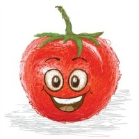 Health and nutrition. Smiling tomato clip art image.