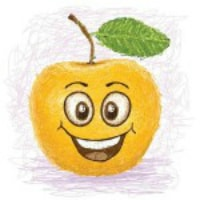 Health and nutrition. Smiling yellow apple clipart image
