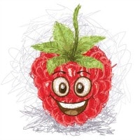 Health and nutrition. Smiling raspberry clip art image.