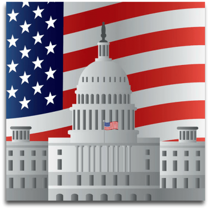 Government capitol building with flag clipart image
