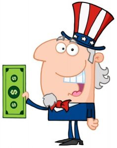 smiling guy with a dollar cartoon
