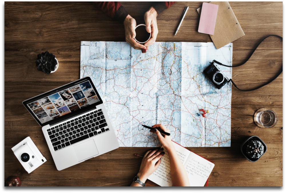planning a trip using a map