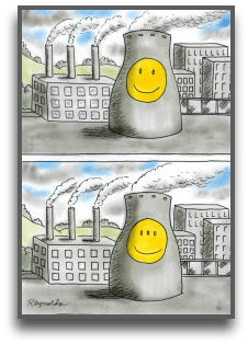 cartoon of nuclear waste causing genetic mutation