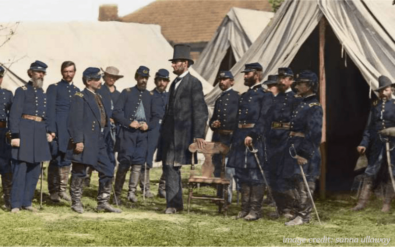 president lincoln with civil war troops