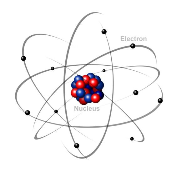 image of an atom with protons, neutrons, and electrons