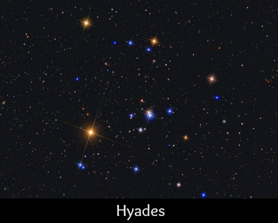 The Hyades open star cluster, Mel 25, is located in the constellation of Taurus. Copyright 2012 Jerry Lodriguss