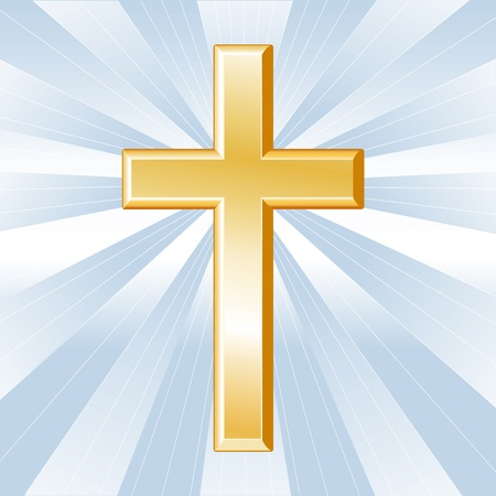 11837265 - christianity symbol, golden cross, crucifix, icon of christian faith on a sky blue background with rays.