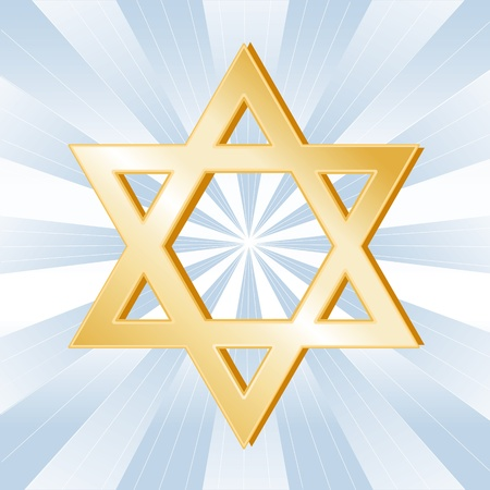 11837269 - judaism symbol, golden star of david, icon of the jewish faith on a sky blue background with rays.