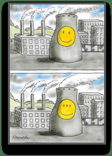 cartoon of nuclear waste causing genetic mutation