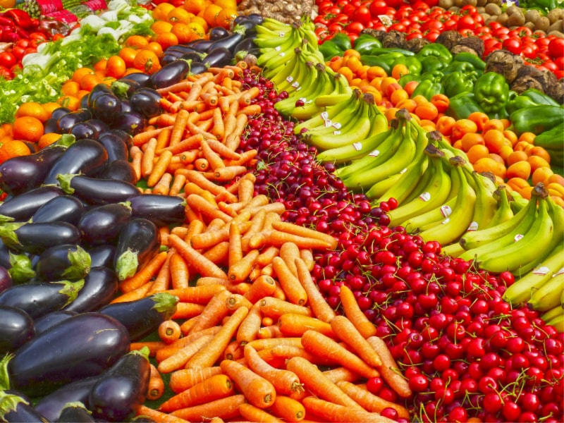 fruits and vegetables with antioxidants