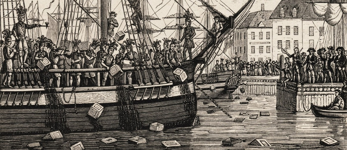 art drawing of the boston tea party